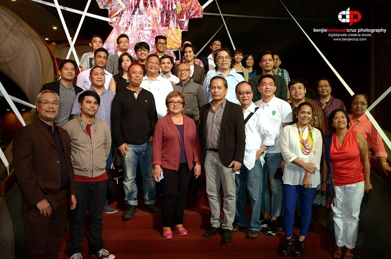 The hardworking organizers of Cinemalaya 2014 - Year 10 headed by president of cinemalaya foundation, MR. NESTOR JARDIN (front row, in black blazer), cinemalaya festival director MR. CHRIS MILLADO (front row, leftmost, in black suit), cinemalaya competition chairperson and award-winning director MS. LAURICE GUILLEN (front row, in maroon blazer), and cinemalaya monitoring head and master filmmaker MR. MEL CHIONGLO (front row, in whitle long sleeves, with shades) -- together with this year's batch of FILMMAKERS from the 3 categories: directors showcase, new breed feature films, and new breed short films! Taken during the Presscon, July 9th at the CCP Main Lobby. (photo by Benjie Cruz)