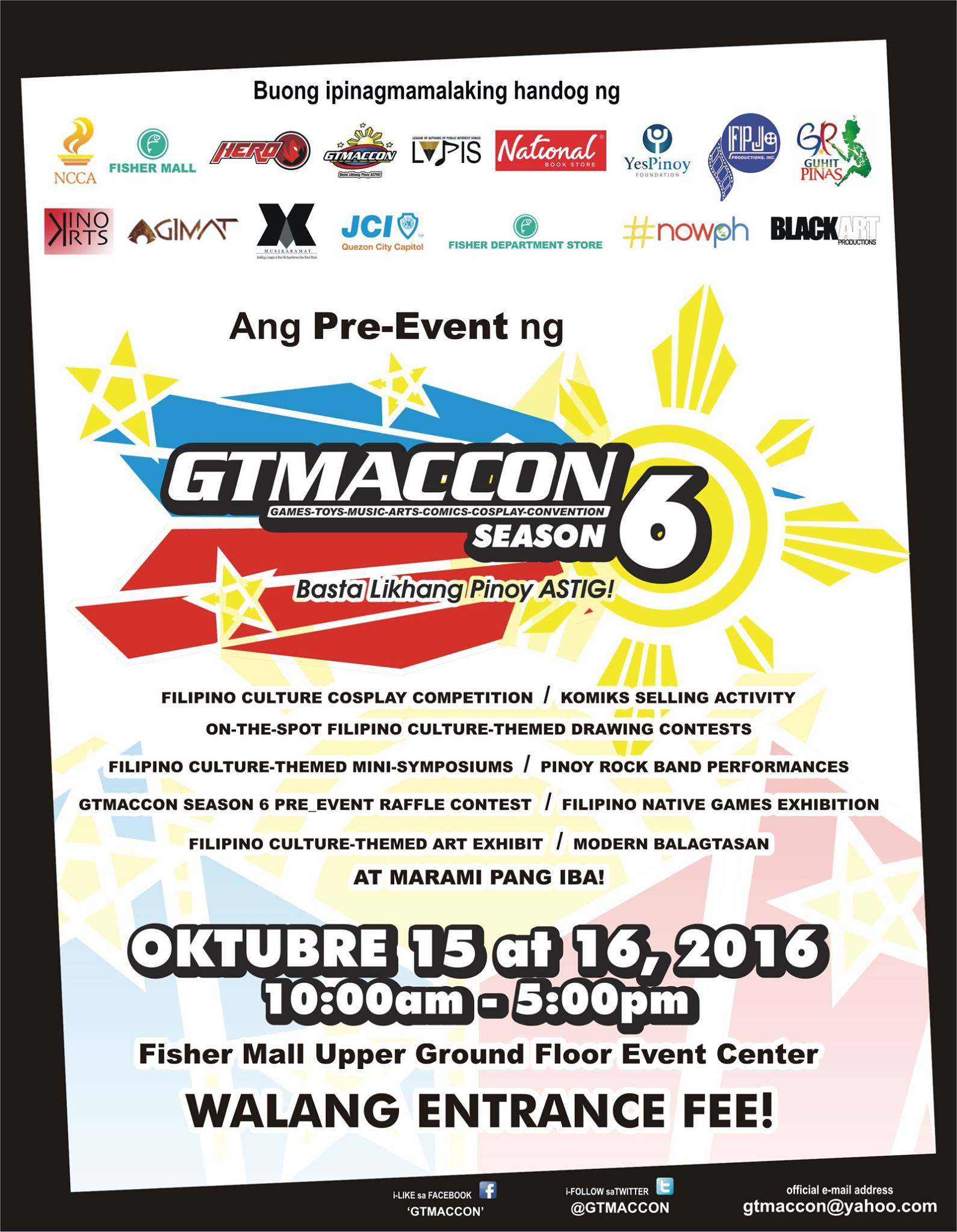 Ang Pre-Event ng GTMACCon Season 6 clock October 15 – October 16 Oct 15 at 10 AM to Oct 16 at 5 PM pin Show Map Fisher Mall Quezon Ave., cor. Roosevelt Avenue, Heroes Hill, Brgy. Santa Cruz, 1103 Quezon City, Philippines share Kit Perez shared this with you