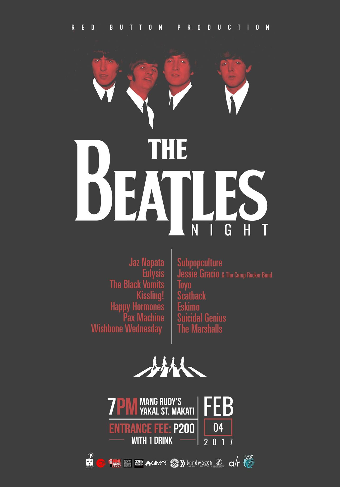 "Re Button Event #182: Beatles Night clock Saturday, February 4 at 7 PM - 2 AM Feb 4 at 7 PM to Feb 5 at 2 AM pin Show Map Mang Rudy's Tuna Grill And Papaitan 148 A Yakal Street San Antonio Village, 1230 Makati, Philippines Red Button Production Like This Page · January 25 · Red Button Production present ""BEATLES NIGHT"" Red Button Event #182 February 4, Saturday 