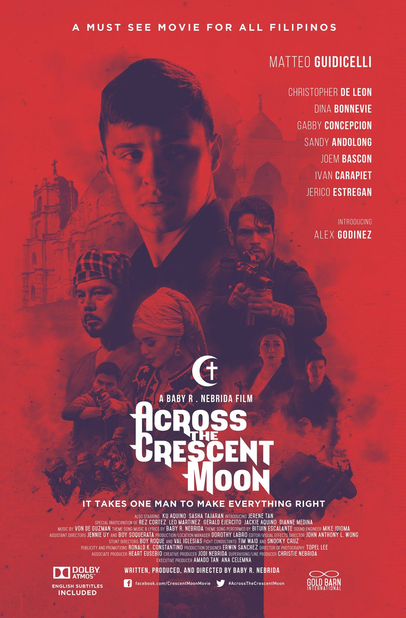 Across The Crescent Moon Page Liked · January 9 · OPENS JANUARY 25, 2017!! WHAT IS THE STORY OF ACROSS THE CRESCENT MOON? The story revolves around a SAF exemplary Agent, Abbas Misani, played by Matteo Guidicelli,a good Muslim who is married to Emma, played by Alex Godinez whose parents with strict Christian upbringing played by Dina Bonnevie and Gabby Concepcion would not accept both Abbas and Emma to their family. Matteo comes from a happy good Muslim family with Karim as his father played by Christopher de Leon and Sitti, as his mother played by Sandy Andolong. The film highlights the menace of human trafficking and about inter-faith relationships. The film intends to impart a strong message that with the tremendous cultural and religious diversity, we are all FILIPINOS, who truly belong to one family of GOD. Though the action-drama story is a creative work of art and fiction, the cases mentioned here have a semblance of truth and are based on true to life encounters of modern day slavery. Definitely, the film, ACROSS THE CRESCENT MOON, does not only entertain, but it serves as an inspiration and enlightenment to what Filipinos should value most – lasting peace, love, preservation of family unity, and displaying the respectability and acceptability of each other's faith. Most of all, to embrace a strong sense of mission to please God or Allah and instilling in every Filipino's heart and mind – true patriotism in loving and serving the country well in every chosen field of endeavor people choose, should be in our spirit. This powerful inspiring film strengthens family ties and deepens the faith of people in God as we see the characters in the story transformed into a strong solid family renewal of ties and love. This film is an enriching, enlightening, entertaining and exciting action/ drama that moves the heart and uplifts the soul. To many who have seen it, they say that it has an indefinable quality that can heal the viewer emotionally, psychologic