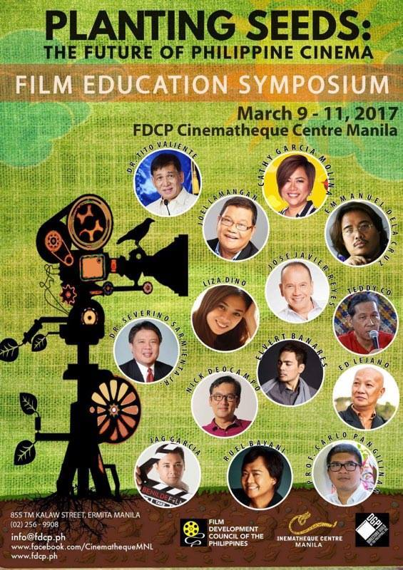 Film Development Council of the Philippines Page Liked · 7 hrs · Who's up for a 3-DAY FREE SEMINAR? Film Development Council of the Philippines and Cinematheque Centre Manila will be having a 3-DAY FACULTY SYMPOSIUM for FREE on March 9, 10 & 11, 2017, 9:00 - 5:00 PM at Cinematheque Theatre Manila. This will be the last leg of PLANTING SEEDS: The Future of Philippine Cinema and will be attended by notable guest speakers and panelists. See you there!