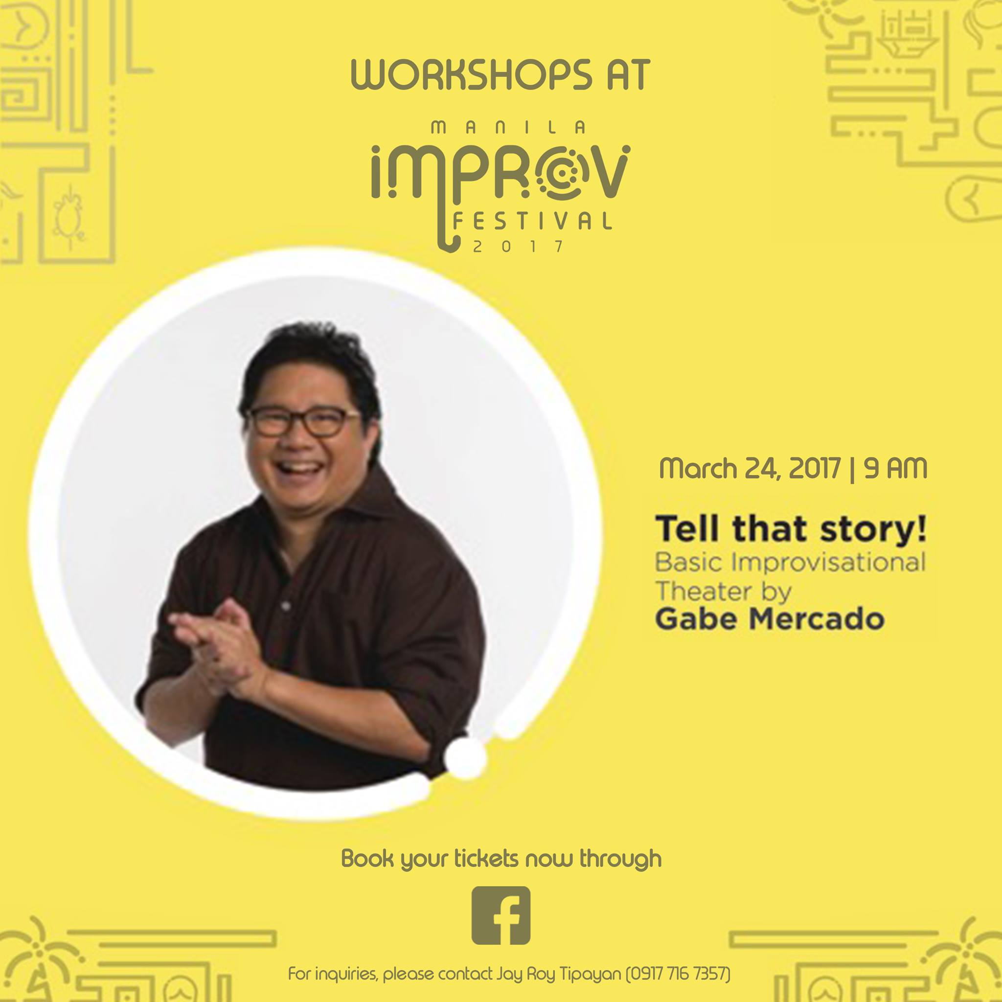 "PETA Theater Center Page Liked · March 7 · Edited · Learn the basics of improv with Gabe Mercado, and unleash the power of the word ""YES."" When you can't say no, you get better in innovating. In improv, that's almost all that you need. Enroll now through Facebook or the following numbers: 0917 716 7357; 725 6244 #ManilaImprovFest"