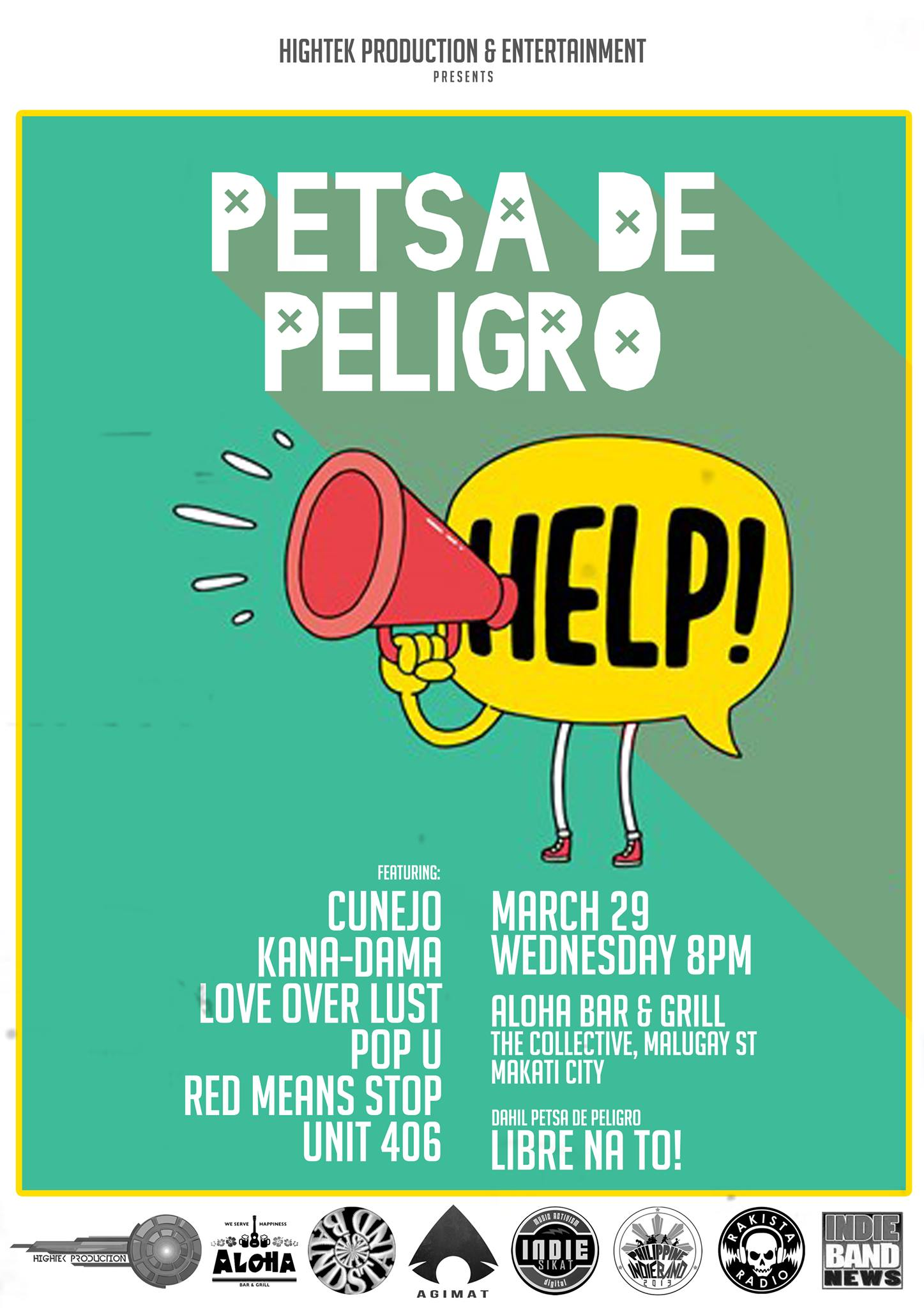 "Pol Calinawan published Petsa De Peligro on WordPress. 17 hrs · ""PETSA DE PELIGRO"" Featuring: – Cunejo – Kana-Dama – Love Over Lust – Pop U – Red Mean Stop – Unit 406 March 29, 2017 (Wednesday) 8pm-12:30am at Aloha Bar and Grill The Collective Malugay St. Makati City FREE ENTRANCE! Brought to us by: Hightek Production and Entertainment Special thanks to: Aloha Bar & Grill Media Partners: Indie Band News, Bandstand.ph, Agimat: Sining at Kulturang Pinoy, Philippine INDIE BAND, Indie-SIKAT, Rakista Radio For inquiries/ table reservations: 09279879730 ★ Petsa De Peligro ★ https://www.facebook.com/events/1293031667443004/ ★ http://bandstand.ph/2017/03/26/petsa-de-peligro/ :D Zyx Gisap @ Bandstand Philippines, Bandscapes, atbp. :)"