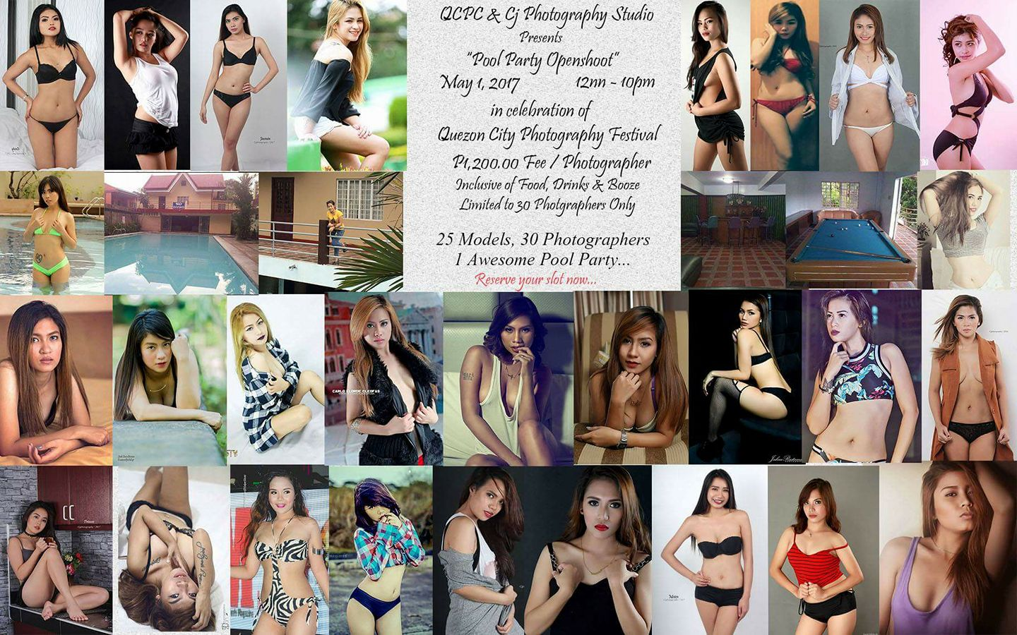 Angel Columna‎Quezon City Photo Club 9 hrs · PTPA Inviting all Photographers, Amateur,Professional and Hobbyist. Come and join us on May 1st,Labor Day for an Awesome Openshoot with our Gorgeous Sexy Models, This is in celebration of Quezon City Photography Festival. What : Pool Party Open Photoshoot When : May 1,2017 Time : 1:00 PM - 10:00 PM Fee: P1,200.00 / Photographer with Food, Drinks and Booze... Model Line up ( Kulang pa ng Konte) Nica Garrate CristineMhay Esniel Corpuz Kiara Gates Jai Ann Jabolin Allison Ignacio II Jess Tolentino Cabanilla Samantha Lanzanas BabyJoy Estabillo Bella Johnny Anne DEL Valle Thea Aetuah Alexis Mendez Lhetskie Requinta Aira Padua Vhie Villar Valles Princes Nuñez Acampado Dhiane Alyssa Louise Gonza kristy Jazzi John Carlo Francisco Angel Nuarin Lahat po sila confirm to join the event, yung iba lang ayaw magpa Tag for some reason... Poster will be updated every now and then, kase nga po may kulang pa na model. We require 50% DP to reserve your Slot, this is in cooperation with QCPC, all DP's and Payments will be course thru Cj Photography Studio. Contact us at 09357075212 or PM us for more information. Check us out, @ilovecjphotography See you at the Pool Party... #QCPhotographyFestival2017 — at CJ Photography Studio.