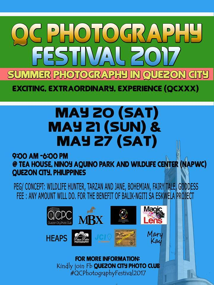 "Vladimir E Estocado 10 hrs · Allowed on Timeline PTPA REUNION PHOTOSHOOT 2017 QC Photography Festival 2017 May 20, (Sat), May 21 (Sun) and May 27 (Sat) Time: 9:00AM – 6:00PM Venue: TEAHOUSE, Ninoy Aquino Parks and Wildlife Center (NAPWC), Quezon City Peg/Concept: Wildlife Hunter, Native Indian, Tarzan and Jane, Bohemian, Fairy Tale, Goddess. FEE: Any amount will do. For the benefit of ""Balik-Ngiti sa Eskwela Project"" How to register: Just join/add FB: Quezon City Photo Club (QCPC). We are open to partnerships, sponsorships and collaborations. Choose any date and register at FB: Quezon City Photo Club (QCPC) #QCPhotographyFestival2017 — with Mon Lens, Junn Davad, Christine Iris Gonzales, John Clemente, Jophel Botero Ybiosa, Christella Sto Tomas Buen, Agos Maharlika and Vladimir E. Estocado."