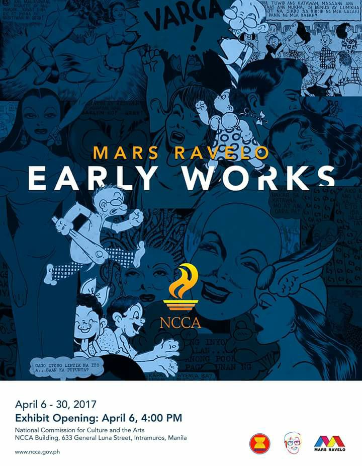Mars Ravelo Page Liked · April 5 near Quezon City · Edited · Mars Ravelo Early Works Schedule of Activities: April 6, 2017 4:00 PM - Exhibit Opening April 18, 2017 4:00 PM - Ribbon Cutting and Artist Reception April 30, 2017 - Last Day of Exhibition