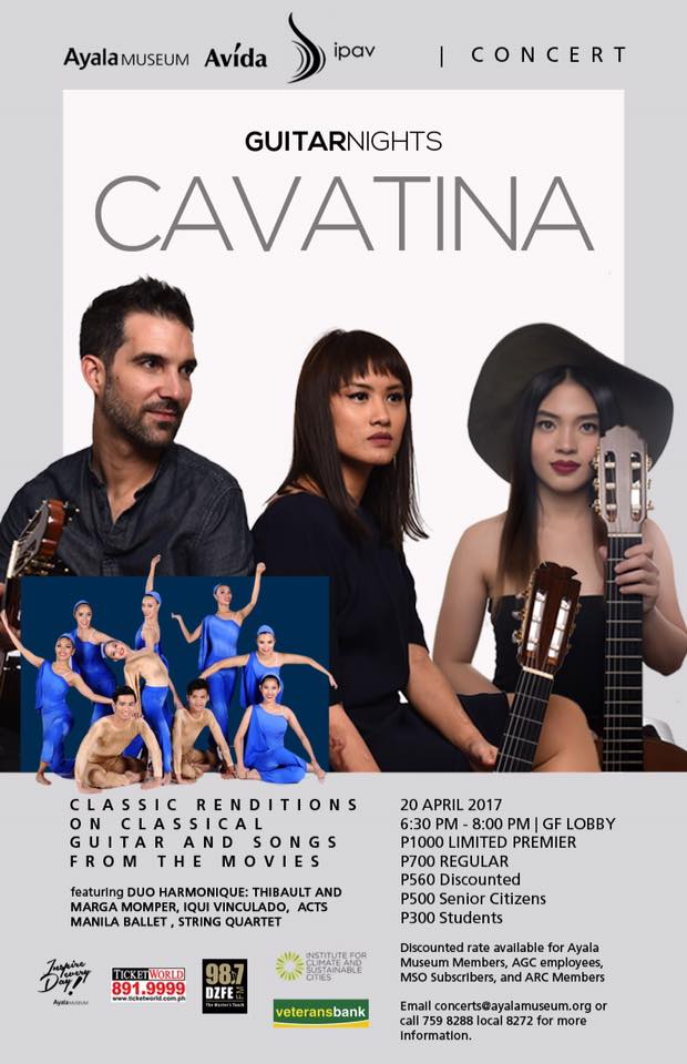 Duo Harmonique Page Liked · 18 hrs · CAVATINA happening on April 20, 6:30pm at the Ayala Museum ❤ it's going to be an interesting show! Come over! ❤💛💙💚💜🎶🎸