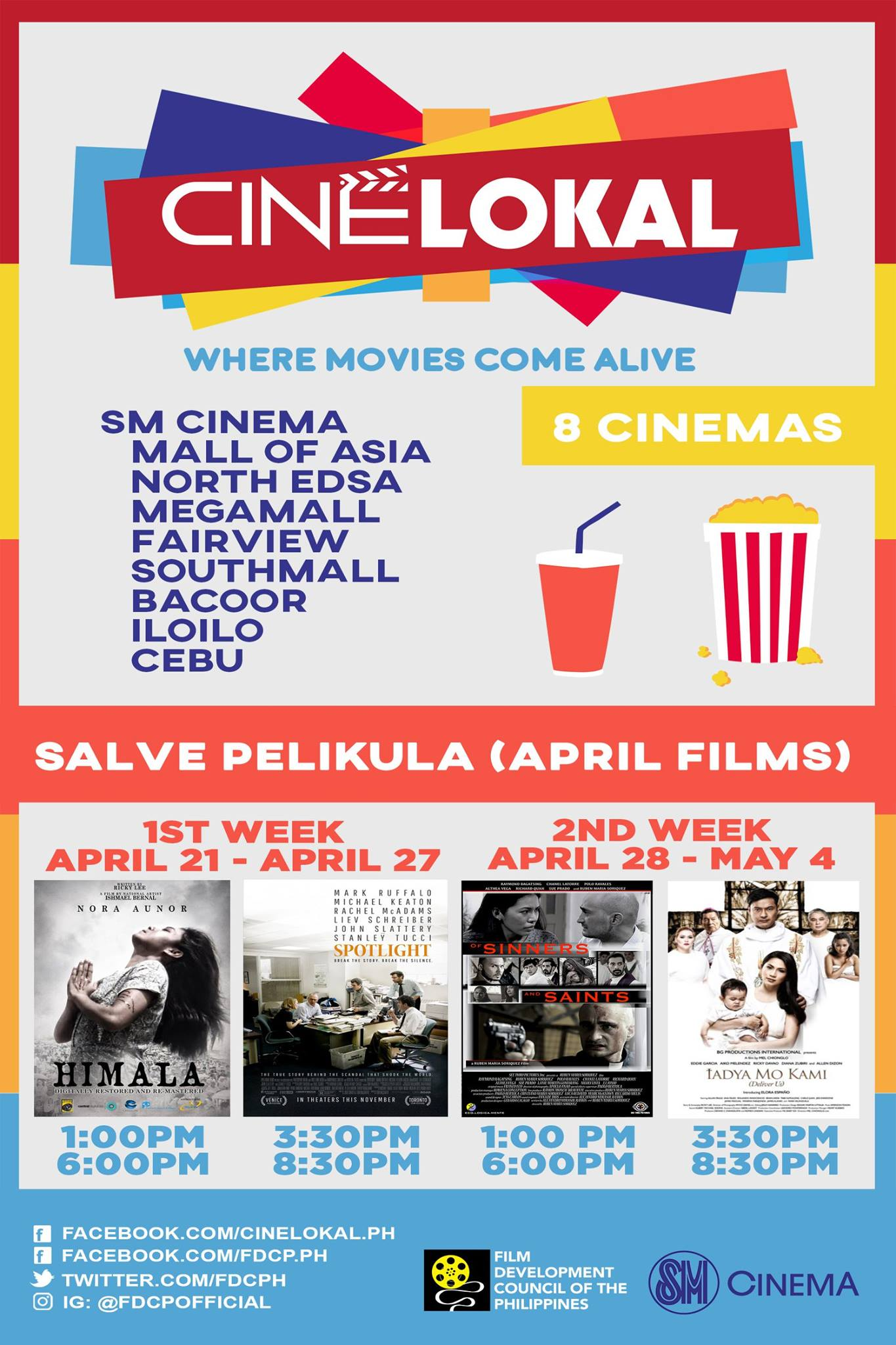 "Cine Lokal Page Liked · April 17 · Edited · Cine Lokal is a program of which they will screen and showcase independent, award-winning films and FDCP programs to selected SM Cinema branches across the country starting this April 21, 2017. This April, CineLokal will launch ""Salve Pelikula"" film series---- a themed programming on faith-based films which will be screened in lieu of Lenten Season this April 21, 2017. CineLokal will feature the following films this April: Spotlight (Best Picture 2015 Oscars), Himala (Ishmael Bernal), Of Sinners and Saints (Ruben Soriquez), and Iadya Mo Kami (Mel Chionglo). We will also be having a grand launch this Wednesday, April 19, 2017 where we will officially open CineLokal to the public. Let us support and make CineLokal known to everyone! Iangat natin ang pelikula ng ating bansa! #CineLokal #CineLokal2017 #SalvePelikula"