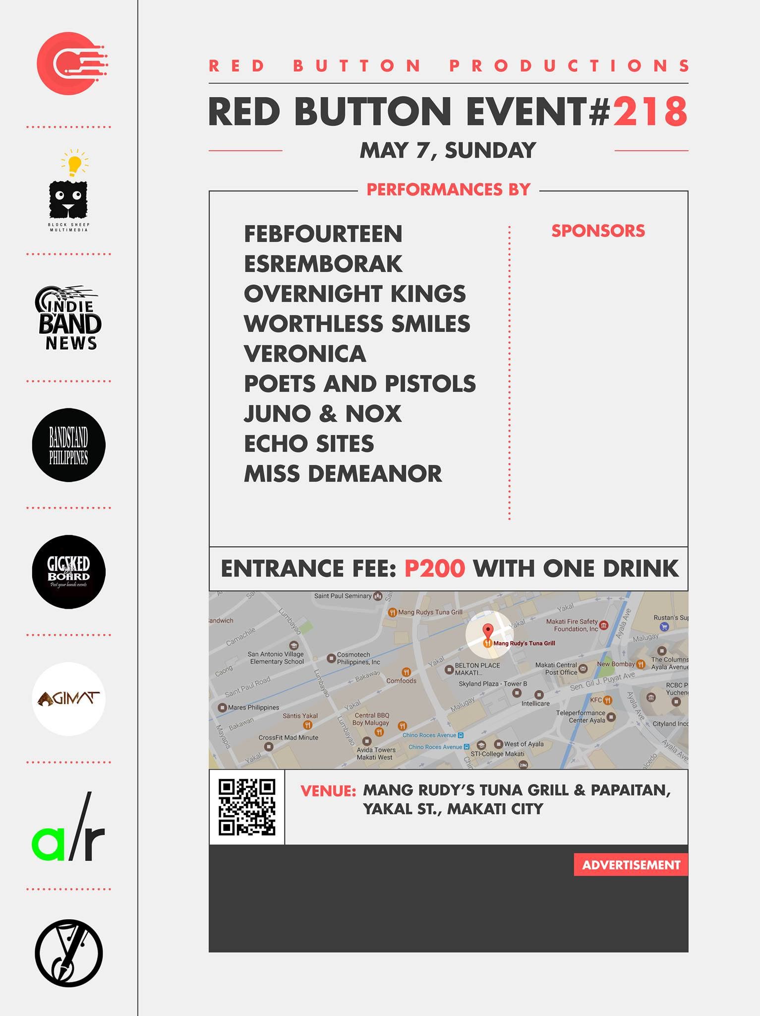 Red Button Productions Like This Page · Yesterday · Edited · Red Button Productions present Red Button Event #218 May 7, Sunday at Mang Rudy's Tuna Grill And Papaitan, Yakal Street Makati Entrance Fee: P200 with 1 drink performances by: https://www.facebook.com/events/1536001293107776/ Febfourteen Esremborak Overnight Kings Worthless Smiles Veronica Poets and Pistols Finish Strong Echo Sites Miss Demeanor Event Link: Media Partners: Block Sheep Multimedia Indie Band News Bandstand Philippines Gig Sked Board Agimat: Sining at Kulturang Pinoy Songwriters Philippines Adobo Radio — at Mang Rudy's Tuna Grill And Papaitan.