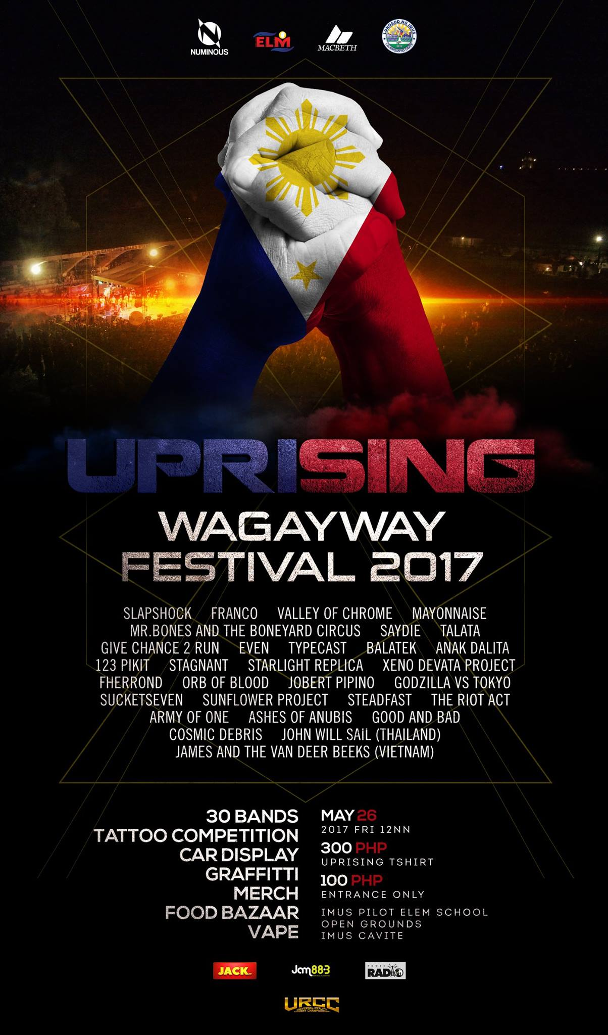 The Southern Project Page Liked · April 7 · Edited · The Uprising: Wagayway Festival.. The BIGGEST Musical Event in the SOUTH will be happpening on May 26, 2017, 12N for 100 pesos, at The Imus Pilot Elementary School Open Grounds, Imus Cavite. Army Of One Anak Dalita The Riot Act and Fherrond will be performing with other great Filipino Bands! — with Johnny Villame, Romeo Regaliza Pascual, Siopao Lucero Paredes, Mike Twain, Reachie de Leon, Jehu Aquino, Em Somera, Neil Aldrin, Joanas Pineda, Ian Delos Santos, Joboss Cambodia, Johnny Riot, Ernezto Geluz, Christiana Mongaya and Bryan Pernis.
