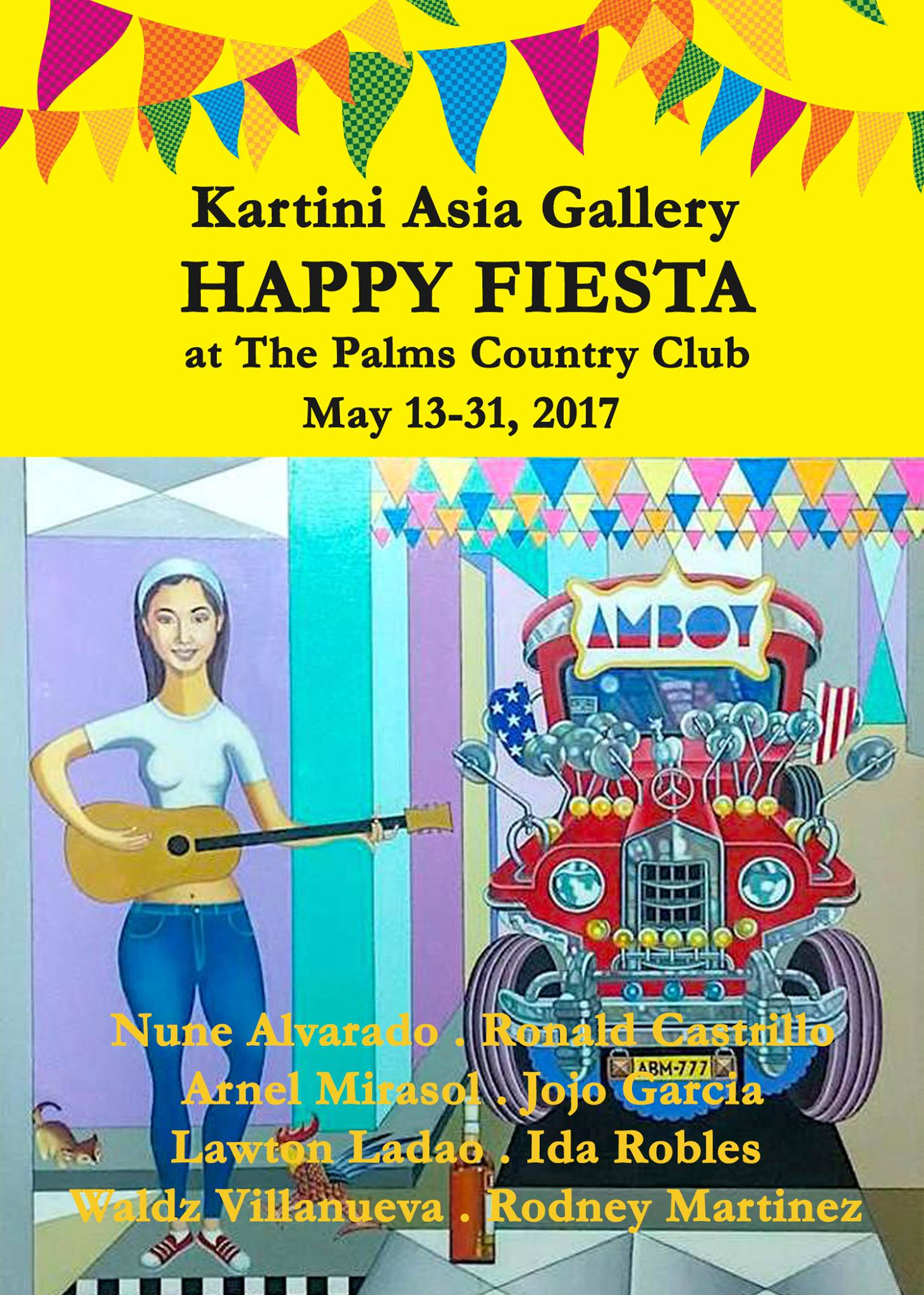 "Nina Malvar May 12 · HAPPY FIESTA on MOTHER'S DAY! At the Palms Country Club Laguna Drive, Filinvest City, Alabang Celebrate Mother's Day in a colorful visual feast as Kartini Asia Gallery showcases the works of Mission Artists Philippines in an art exhibit ""HAPPY FIESTA"" at the Palms Country Club. Exhibit run starts on Saturday May 13 in time with Mother's Day on Sunday May 14 up through May 31. Marvel at the geniuses of Arnel Mirasol, Nune Alvarado, Ronald Castrillo, Rodney Martinez, Waldz Villanueva, Jojo Garcia, Ida Robles and Lawton Ladao. Jake Catah, Jerry Dean and Mon Villanueva are participating artists. Inquiries at the Palms: 771- 7171 / 697- 6191 Kartini Asia Gallery: 807- 4356 / 8077579 / 09266899014 — with Jerry e Dean and Aileen Beltran Garcia."