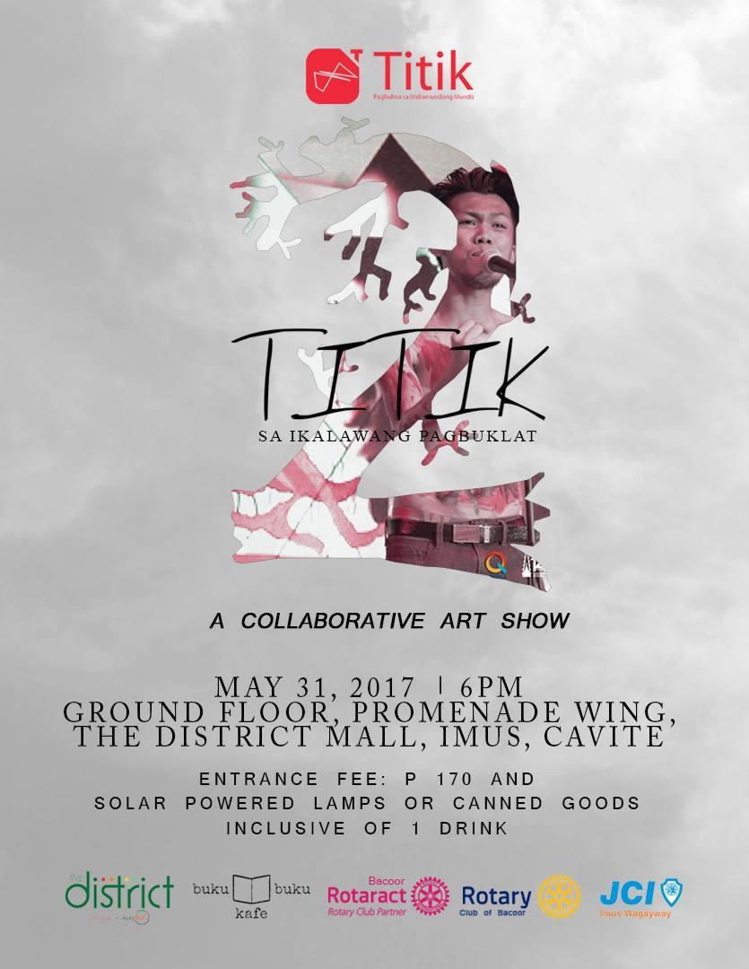 Para Sa Sining Page Liked · 10 hrs · #ParaSaTula #ParaSaSining All out support for Titik Poetry in their 2nd Anniversary!!! Thank you for sharing Collaborative Arts to the people of Cavite in the way you've experienced it in Para Sa Sining! Drop by our booth later! See you there! #TitikPoetryParaSaSining #TitikPoetry For more details, visit: https://www.facebook.com/events/803002433181527/