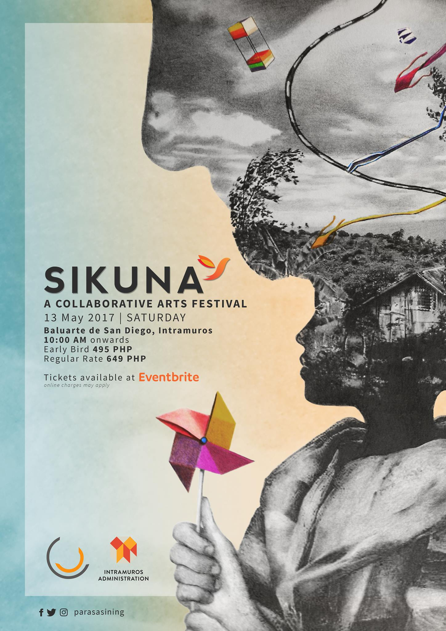 Sikuna Collaborative Arts Festival 2017 clock Tomorrow at 10 AM - 11 PM Tomorrow · 27–38° Partly Cloudy pin Show Map Intramuros, Manila ticket Find Tickets Tickets Available www.eventbrite.com About Discussion 135 Going · 615 InterestedSee All 4 Ja, Kace and 3 other friends are going Share Details SIKUNA (see-ku-nuh) is a Collaborative Arts Festival where different art forms are celebrated altogether! visual arts | literature | film | dance | music | architecture | theater The festival provides a platform where both artists and audiences experience the collaborative spirit through performances, workshops, open jams, and many other activities. While it aims to create an avenue where forms and genres merge, the Sikuna is the first festival of its kind in the Philippines. SIKUNA 2017 is the culminating event of the 2nd official season of Para Sa Sining. Through this Collaborative Arts Festival, we celebrate another year of art and of life! EVENT DETAILS 13 May 2017 | Saturday Baluarte de San Diego, Intramuros Gates open at 10AM TICKET DETAILS Early Bird (until April 30) - 495 Php Regular Rate - 649 Php Tickets are available through Eventbrite! online charges may apply EVENT DESCRIPTION Marrying two words to give birth to the festival name, Sikuna aims to resemble a cradle—- protecting the traditional genres while being a birthplace for the contemporary. The festival was launched in August 2015. It served as the opening festival of the first official season of Para Sa Sining. Having over 20 performances from around 150 artists and volunteers, it was a full day of collaborative performances, open jams, interactive performances, exhibitions, and an artisans' fair. This 2017, Sikuna will showcase more performances and activities in different venue spaces within the walls of the Baluarte de San Diego, Intramuros! Sikuna is a fundraising project for Para Sa Sining's upcoming projects such as the Hiraya Collaborative Arts Educa