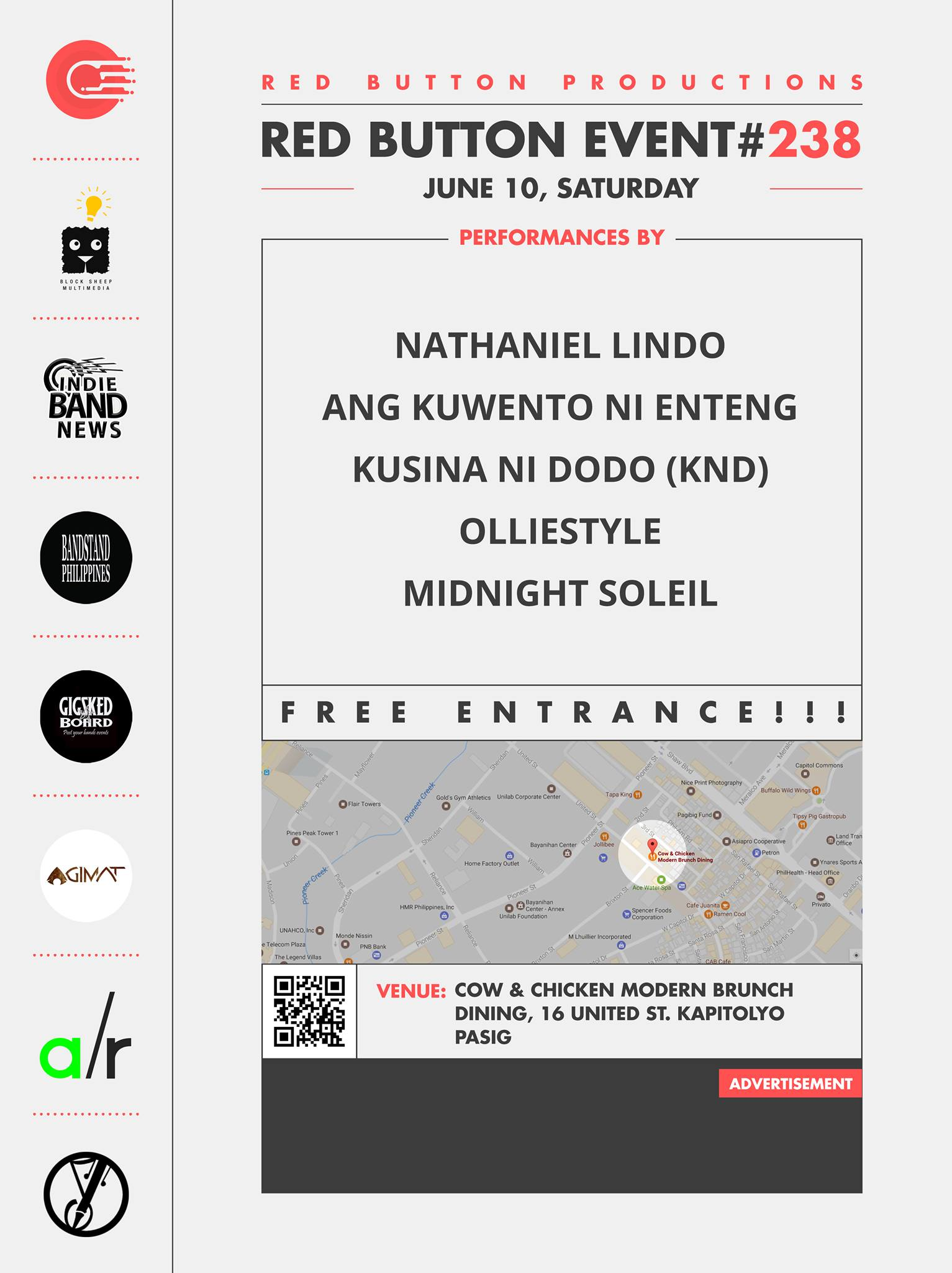 Red Button Productions Like This Page · 2 hrs · Red Button Productions present Red Button Event #238 June 10, Saturday at Cow & Chicken Modern Brunch Dining, United St. Kapitolyo, Pasig NO ENTRANCE FEE!!! OPEN JAM AFTER performances by: Nathaniel Lindo Ang Kuwento ni Enteng Kusina Ni DoDo (KND) Olliestyle Midnight Soleil Event Link: https://www.facebook.com/events/1843149972612068 Media Partners: Block Sheep Multimedia Indie Band News Bandstand Philippines Gig Sked Board Agimat: Sining at Kulturang Pinoy Songwriters Philippines Adobo Radio — at Cow & Chicken Modern Brunch Dining.