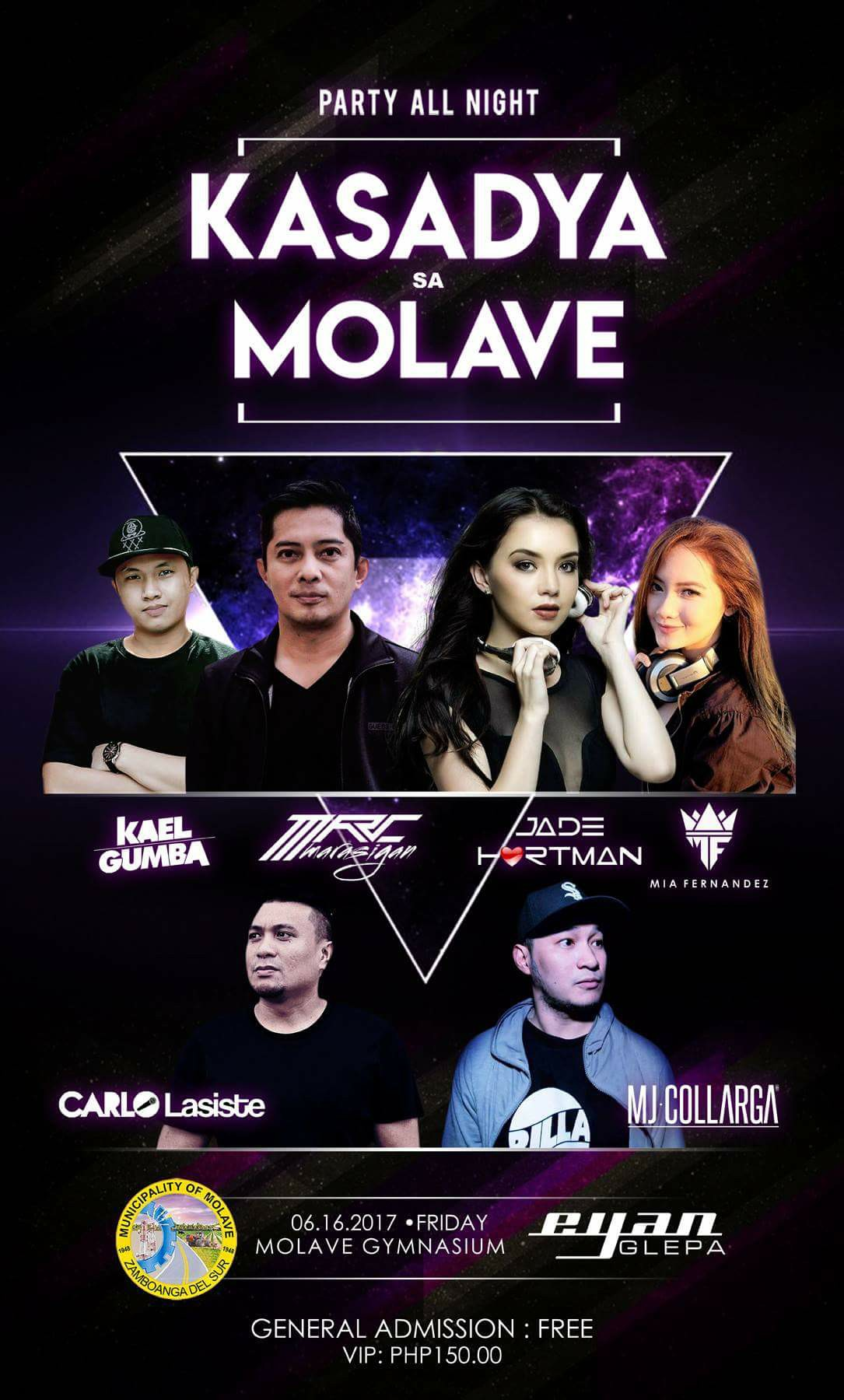 Ian Daryl Antipuesto Glepa Follow · 4 hrs · PROMO ALERT!! Be 1 of the 10 winners of 2 VIP tickets for the Kasadya Sa Molave event this Friday! Simply SHARE this post, TAG your friends and use the HASHTAGS #PartyAllNight and #KasadyaSaMolave The 10 people with the most LIKES will win 2 VIP tickets each!! Do not forget to make your posts public! Winners will be chosen tomorrow at exactly 9AM! Good Luck Guys! Get Sharing! ---- Ian Daryl Antipuesto Glepa Follow · June 6 · We bring you another solid line up for this year's Kasadya sa Molave! #partyallnight as we celebrate the 69th Araw ng Molave with music from some of the best in the business! General Admission is FREE but you can party at the VIP section for PHP150.00 with a complimentary cocktail! Bar partner: Vine Molave — in Molave, Zamboanga del Sur.