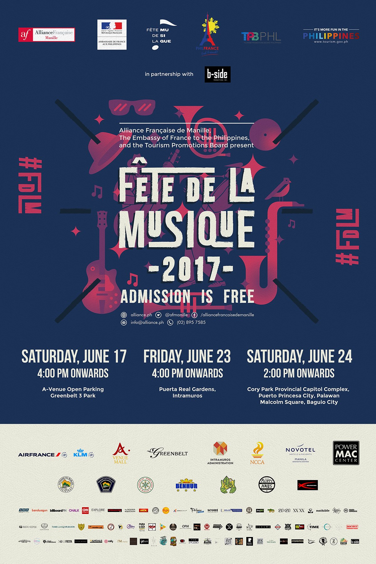 Fête de la Musique Greenbelt Main Stage (Official event page) Public · Hosted by Alliance française de Manille clock Saturday, June 17 at 4 PM - 1 AM Jun 17 at 4 PM to Jun 18 at 1 AM pin Show Map Greenbelt 3 Arnaiz Ave, Makati Fête de la Musique will once again be staging one of its Makati stages at the Greenbelt 3 Park on June 17, 2017 from 4:00 pm onwards. We have prepared a great line-up for you consisting of great and sought-after Filipino musicians performing different genres of music: 4:00 - 4:45 PM Ourselves the Elves Garage (Folk / Alt Country) 4:45 - 5:30 PM Oh, Flamingo (Indie Rock) 5:30 - 6:15 PM Brat Pack (Rock & Roll / Blues) 6:15 - 7:00 PM Toni B. Quirky (Pop / Jazz / Swing) 7:00 - 7:45 PM Tandems '91 (Electronic Music) 7:45 - 8:30 PM Taken By Cars (Indie Rock) 8:30 - 9:15 PM Chocolate Grass (Soul / Jazz) 9:15 - 10:00 PM Kat Agarrado (Funk / Soul / Jazz) 10:00 - 11:00 PM BP Valenzuela (Ambient / Electronic Pop) 11:00 - 11:45 PM Tarsius (Electronica) ADMISSION FOR FETE DE LA MUSIQUE IS FREE! The 23rd Edition of Fête de la Musique is brought to you by the Alliance Française de Manille, Embassy of France to the Philippines, Tourism Promotions Board with B-Side Productions. --- Alliance française de Manille added 6 new photos. June 2 at 6:14pm · Presenting the main stages and over 30 pocket stages of the 23rd Edition of Fête de la Musique in the Philippines