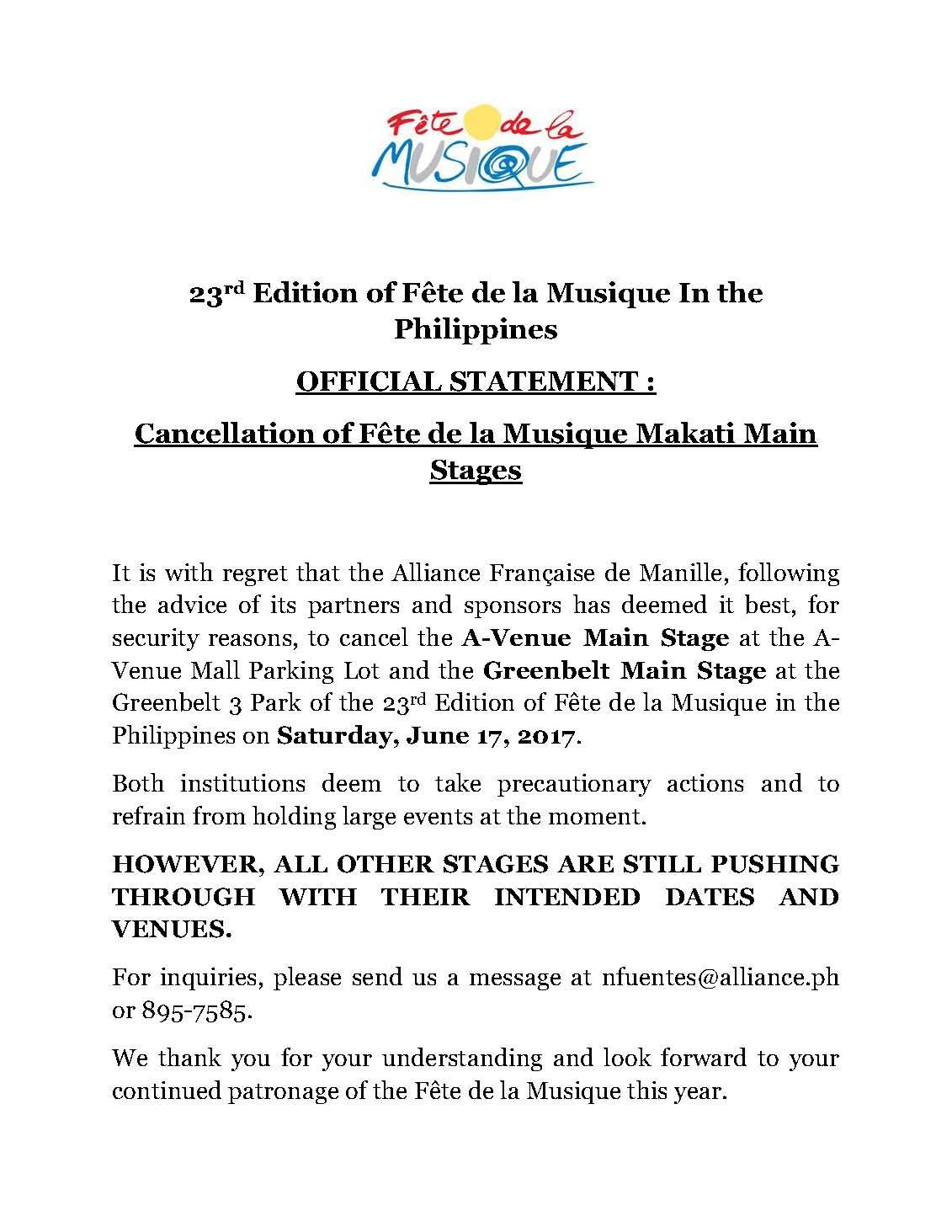 Alliance française de Manille‎Fête de la Musique Greenbelt Main Stage (Official event page) Page Liked · June 9 · Official statement on the cancellation of Makati Main stages of Fete de la Musique on June 17, 2017