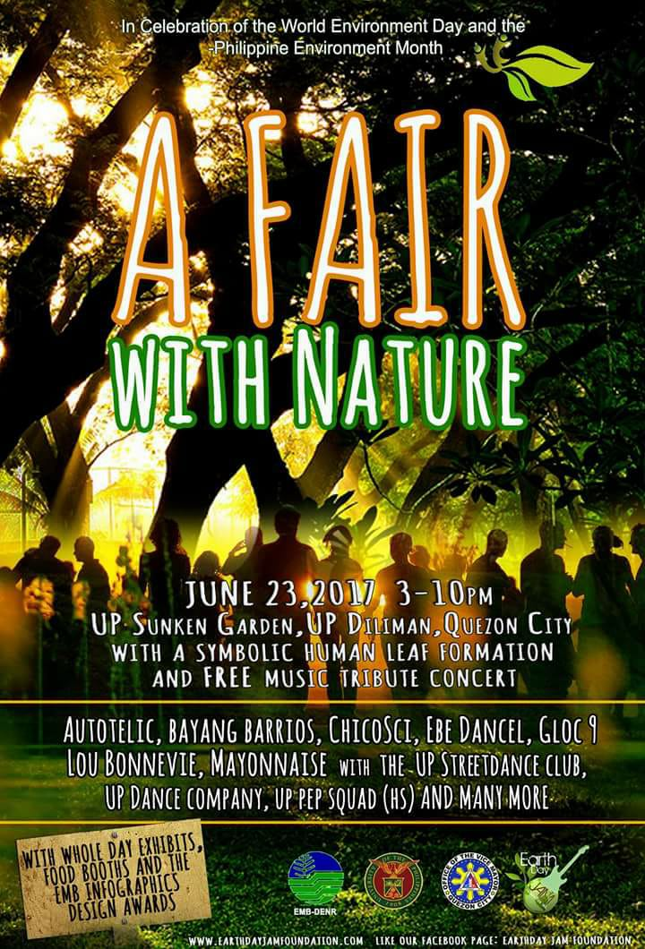 "A Fair with Nature Public · Hosted by Joseph James Villena Salvador clock Today at 3 PM - 10 PM Starts in about 5 hours · 30° Mostly Cloudy pin Show Map UP Sunken Garden U.P Diliman, 1104 Quezon City, Philippines About Discussion 66 Going · 105 InterestedSee All Sinag and Joseph James are going Share Details Hi Earthjammers! Join the DENR, University of the Philippines Diliman ,QC Vice Mayor's Office and the Earthday Jam Foundation as we hold ""A Fair With Nature"" on June 23 at the UP Sunken Garden from 3pm to 10pm! Merong ""Human Leaf Formation"" that will be participated by hundreds of people. More details to come... At siyempre, meron din tayong tugtugan featuring: Autotelic, Bayang Barrios, Chicosci, Ebe Dancel, Gloc9, Lou Bonnevie Mayonnaise and many more! Sayawan din tayo kasama ang UP Streetdance Club, UP Dance Company and UP PEP Squad and many more surprises! Libre para sa lahat! Mark the date! Bring your friends and family members on June 23 at the UP Sunken Garden! This event is for free!"