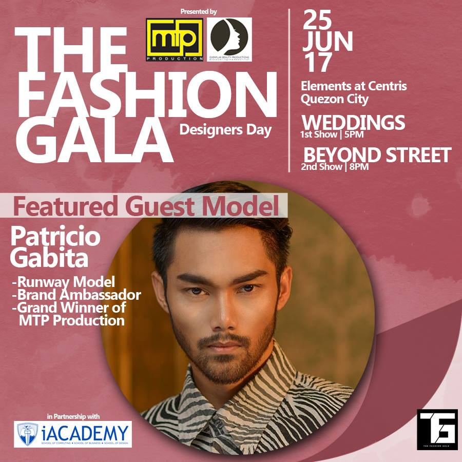 MTP Production Like This Page · May 26 · Meet Mr. Patricio Gabita as one of our featured model on our upcoming event entitled THE FASHION GALA WEDDINGS - 5PM and BEYOND STREET - 8PM on June 25, 2017. #TFGweddings #TFGbeyondstreet #PatricioGabita — with Gabita Patricio, Dave Ocampo and Apple May Aquino.