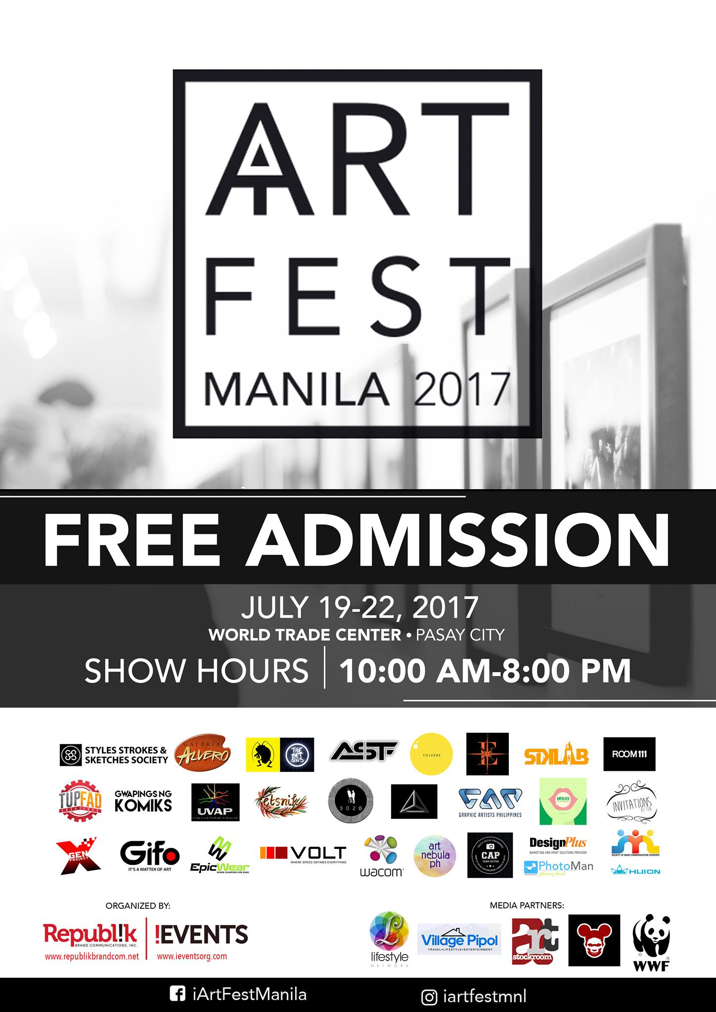 I Art Fest Manila Like This Page · July 11 · Inspired by the abilities of truly amazing artists, iART FEST MANILA's spotlights will shine on attractions such as the art gallery, visual arts, photographs, and crafts filling the exhibition hall. Witness how art flows in the blood of our local artists turning into collections of masterpieces! Let iART FEST MANILA take you on a visual journey from the blank canvas to enthralling works of art creating massive masterpieces of all genres! Inspired by the abilities of truly amazing artists, iART FEST MANILA's spotlight will shine of facets of art in the country such as art galleries, visual arts, photography, music, and crafts. Participants in the event include Ismael Figueroa Esber, Kristen Uy Ramos, Rick Armando, Baroyskie Arts, Ernilo Germino, Sam Penaso, Mel Araneta, Fredi Agunoy, Joanna Liza, Kuatro Kantos, GWAPINGS NG KOMIKS, SIKLAB, 302B, Levi Batara, Marlon Lucenara, Jo Anna Vocalan, Joemarie Sanclaria Chua, Suicidal Genius, Pilipinas Street Plan, Room One Eleven, Graphic Artist Philippines, TUP-FAD Creatives, Betsin-artparasites, STYLES STROKES & SKETCHES SOCIETY, and Yolkers Collab. Visitors can also check out some products of Wacom, Art Nebula, Gifo, and other participating exhibitors. See you this July 19-22 at the World Trade Center Metro Manila, Pasay City! #iArtFestManila #iARTPH