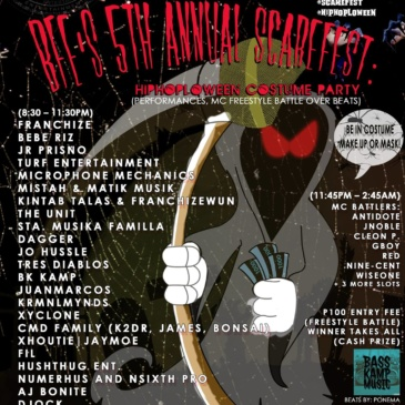BFe's 5th Annual Scarefest: A HiphopLoween Costume Party & MC Freestyle Battle